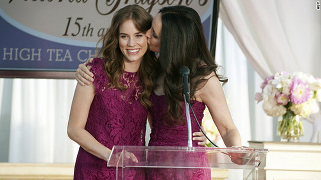 Charlotte, left, and Victoria Grayson wore these raspberry lace Dolce &amp;amp; Gabbana dresses to attend &quot;a fancy mother/daughter tea,&quot; Ohanneson said. &quot;I had already purchased Victoria's dress for her closet when I got the script, and I remembered that D&amp;amp;G had a shorter shift dress in the same fabric, which we added a ruffled cap sleeve to (for Charlotte).&quot;