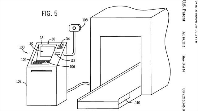 The patent also calls for the option of checking baggage at unmanned kiosks.