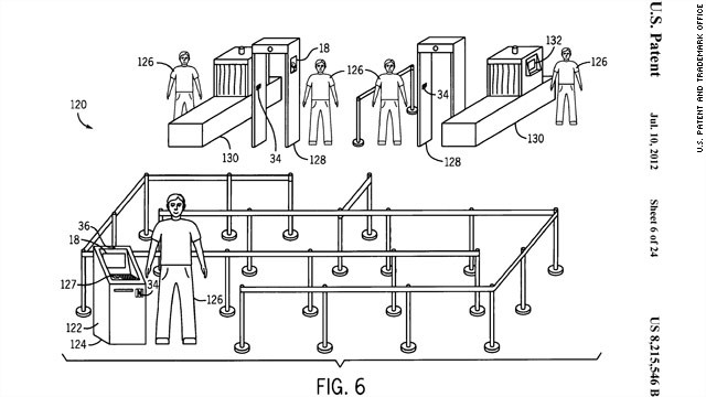 Apple's patent imagines travelers going through airport security with totally empty pockets. All travelers would carry is a phone. By waving their phone at a special kiosk, the phone digitally transfers passport information to nearby TSA officers. They would review it on their own tablet or screen. The process would be entirely paperless.