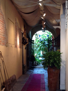 The owner of One Sun Art Gallery on Royal Street was getting ready to re-hang artwork along this hallway Friday. The work was put away for safekeeping before Hurricane Isaac.