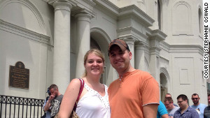 Brooke Garner and Derrick Richardson visited Jackson Square on Friday. It was Richardson\'s first visit to New Orleans.
