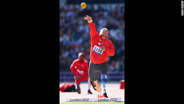 Croatian Darko Kralj competes in the men's shotput final.
