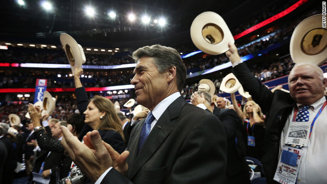 Texas Gov. Rick Perry applauds during the final day of the convention.