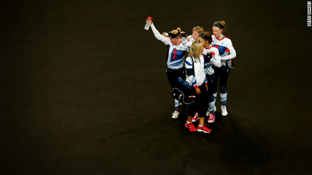 The Great Britain team leaves the court losing to China during the women's goalball match between China and Great Britain.