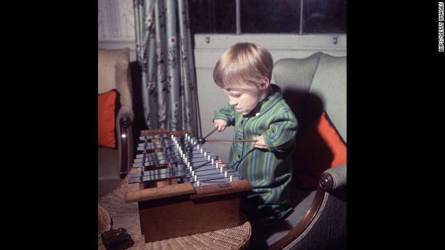 Elizabeth Buckle, 7, one of many children affected by the drug Thalidomide, plays the xylophone on November 15, 1968.