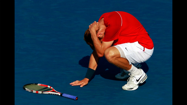 Ryan Harrison of the United States reacts after a point against Juan Martin Del Potro of Argentina in a second- round singles match. Del Potro won in four sets.