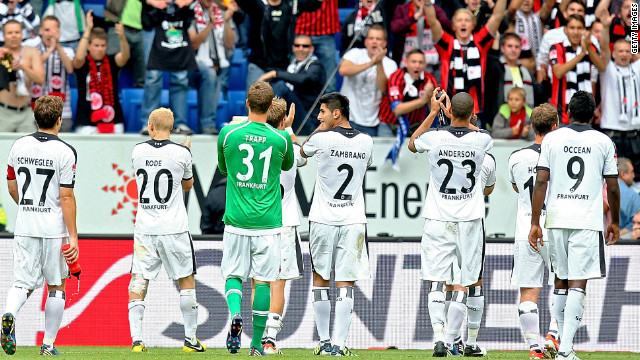 Eintracht Frankfurt's players salute the crowd after their 4-0 win at Hoffenheim in the Bundesliga