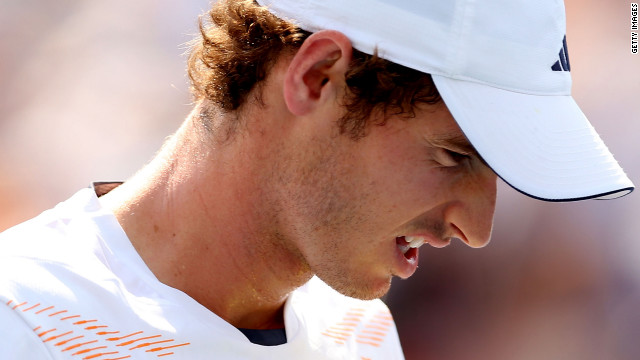 A tired Andy Murray reacts after losing a point in his match against Feliciano Lopez. 
