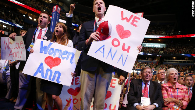 The crowd cheers as Ann Romney wife of Mitt Romney, speaks on stage during the Republican National Convention 