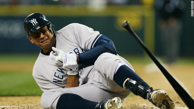 New York Yankee Alex Rodriguez falls to the ground after being hit by a pitch by Seattle Mariner Felix Hernandez on July 24.