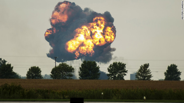 A fireball rises after a Soviet-era military training jet crashed during an air show in Davenport, Iowa September 1.