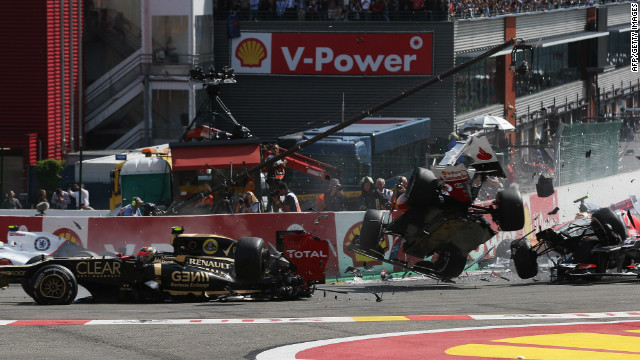 In the ensuing chaos Hamilton, Alonso and Sauber's Sergio Perez are all caught up in the crash and their race is over.