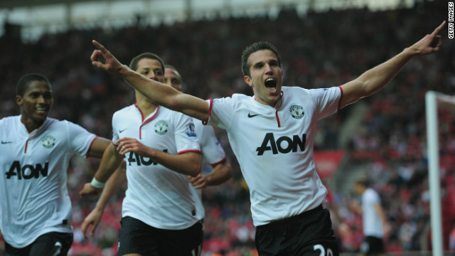 Robin van Persie celebrates the winning goal and his hat-trick in Manchester United's 3-2 win at Southampton. 