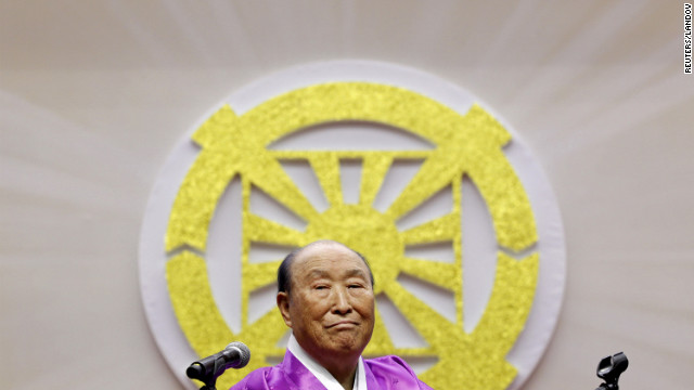 The Rev. Sun Myung Moon, founder of the Unification Church, died early Monday morning in South Korea. He is seen delivering a speech during his 91st birthday party in Gapyeong, South Korea, on February 8, 2011.