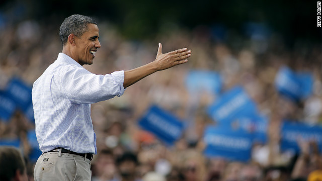 President Barack Obama addresses supporters in Boulder, Colorado, on Sunday. The Democratic convention is this week.