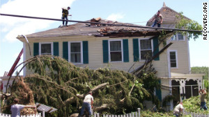Caitria O\'Neill\'s house in Monson, Massachusetts, suffered severe damage from a tornado last summer.
