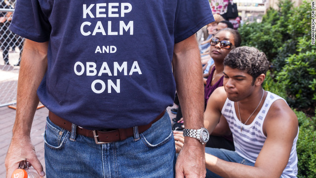 A President Obama supporter shows off his T-shirt on Sunday, September 2, ahead of the Democratic National Convention in Charlotte, North Carolina.