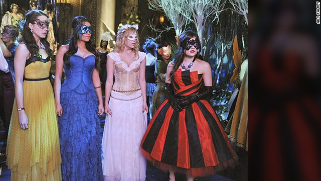 """All of the young shows have done a masquerade ball, and we had to stand out,"" Line said. That's why she and her team designed Aria's (from right) red dress, making the fabric themselves to get it just right. Hanna's dress was made from pieces of five dresses. Line added a custom corset into Emily's teal gown, and Spencer wore a mustard Free People dress. ""We needed four of Spencer's dress, since she fights with Mona on a cliff."""