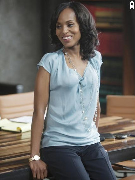 Olivia Pope, played by actress Kerry Washington on ABC's &quot;Scandal,&quot; is wearing one of her signature long necklaces. Costume designer Lyn Paolo said she likes to use jewelry that &quot;embellishes the costume, but also disappears.&quot; And Olivia only wears Movado watches, such as the one shown here, Paolo said.