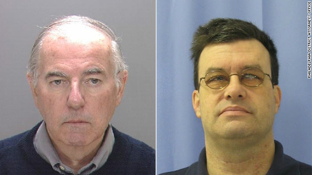 Catholic priest Charles Engelhardt, left, and teacher Bernard Shero, right, have pleaded not guilty to child rape charges.