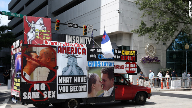 A truck with signs protesting same-sex marriage cruises the streets of Charlotte on Monday. The delegates will vote on whether to include same-sex marriage in their platform for the first time at this year's DNC.