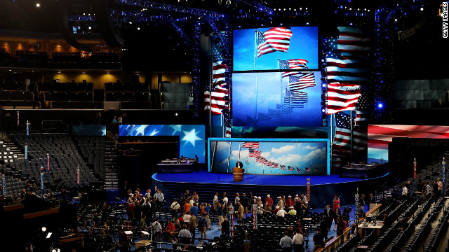 Workers prep for the Democratic National Convention in Charlotte, North Carolina's Time Warner Cable Arena on Monday, September 3. The venue, usually home to the Queen City's NBA team, the Charlotte Bobcats, can seat 20,200 during NBA games.