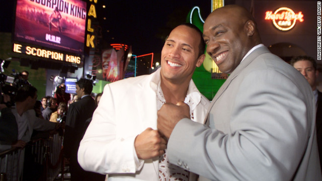 Duncan and his friend and co-star The Rock attend the Los Angeles premiere of &quot;The Scorpion King&quot; in 2002.