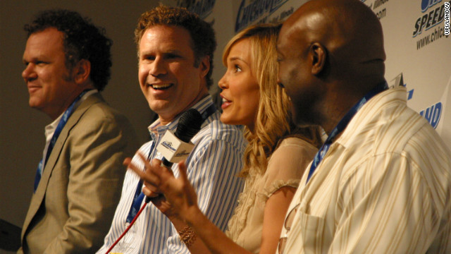 "Duncan and fellow ""Talladega Nights"" cast members John C. Reilly, Will Ferrell and Leslie Bibb take questions from the media at the Chicagoland Speedway in 2006."
