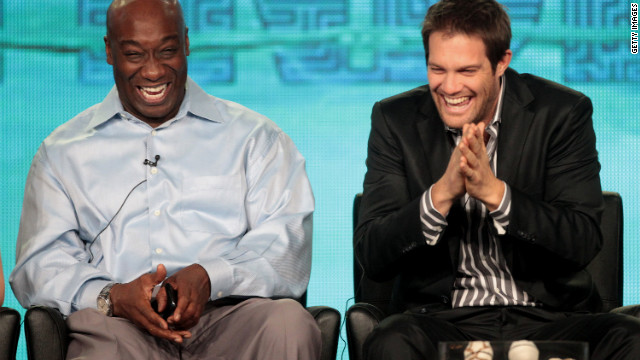 Duncan and Geoff Stults laugh onstage during the panel for &quot;The Finder&quot; at the Winter TCA Tour on January 8 in Pasadena, California. Dunan's most recent role was on the Fox television series.