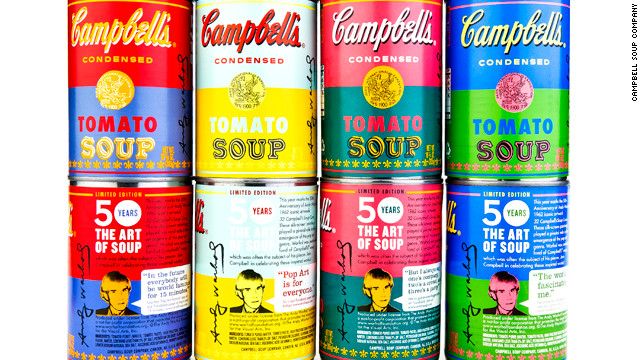 Campbell's soup cans honor Andy Warhol's Pop art legacy