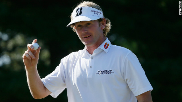 Ryder Cup new boy Brandt Snedeker reacts after holding a birdie putt at the recent Barclays tournament.