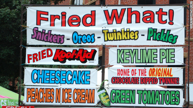 "Americans spend millions on food each year at fairs and festivals around the country. Here are a just a few examples of the creative concoctions being offered to attendees. <br/><br/>Nadja Robot didn't feel up to trying any of these fried delights at the 2011 Illinois State Fair. ""I'm sure they were really... something,"" she says."
