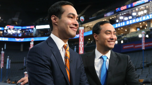 Julian Castro, left, with his brother Joaquin Castro, at the Democratic National Convention.