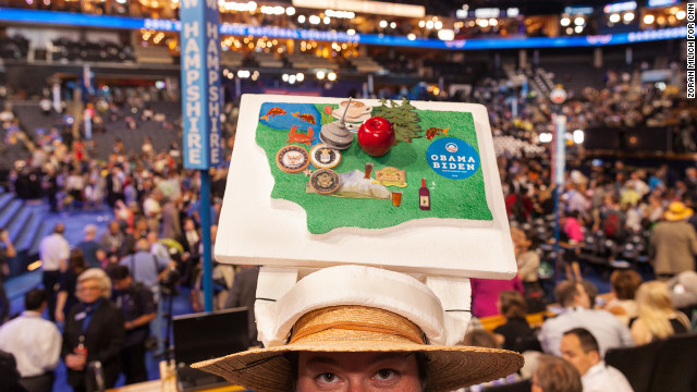 Delegate Jennifer Minich from Washington sports an elaborate hat at the DNC on Tuesday.