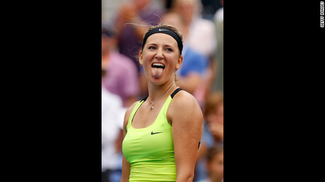 Victoria Azarenka of Belarus celebrates after defeating Samantha Stosur of Australia to win their women's singles quarterfinals match on Tuesday, September 4.