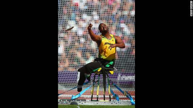 Tanto Campbell of Jamaica competes in the men's discus throw F54/55/56 final on Wednesday.