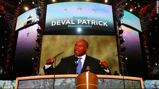 Massachusetts Gov. Deval Patrick speaks during day one of the Democratic National Convention at Time Warner Cable Arena on Tuesday.