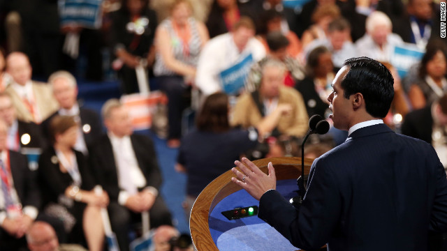 Julian Castro gives the keynote address Tuesday night. &quot;Mitt Romney, quite simply, doesn't get it,&quot; he declared.