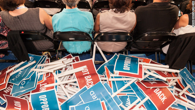 A pile of placards sits on the floor of the Democratic National Convention in Charlotte, North Carolina, on Tuesday, September 4. 