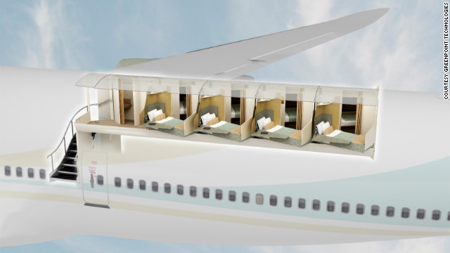 Artistic rendering of how the Aeroloft cabin fits into the top deck of a Boeing BBJ 747-8.
