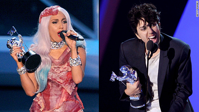 "In 2010, Lady Gaga accepted the award for video of the year wearing a dress, hat, heels and clutch made of raw meat. She even asked Cher, who presented her with the award, to hold her meat purse while she thanked her fans. Gaga later explained the look, saying, ""If we don't stand up for what we believe in and if we don't fight for our rights, pretty soon we're going to have as much rights as the meat on our own bones. And, I am not a piece of meat."" She showed up to the 2011 VMAs in drag, dressed as her alter ego Jo Calderone."