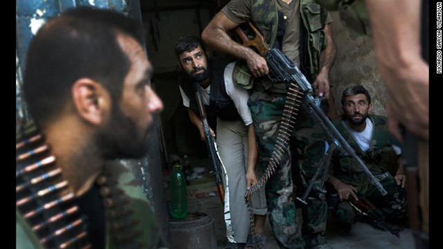 Members of the Free Syrian Army are under fire from members of Syrian President Bashar al Assad's regime. In retaliation, regime forces &quot;responded by sending a plane to bomb the FSA,&quot; Vilanova continued. &quot;Fortunately the plane missed its target.&quot;