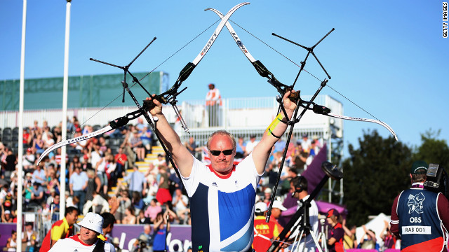 Kenny Allen of Great Britain reacts after losing the match against China in the semifinal of the men's team recurve on Wednesday.