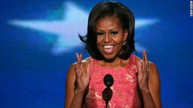 First Lady Michelle Obama was the last to speak on Tuesday, the first night of the Democratic National Convention.