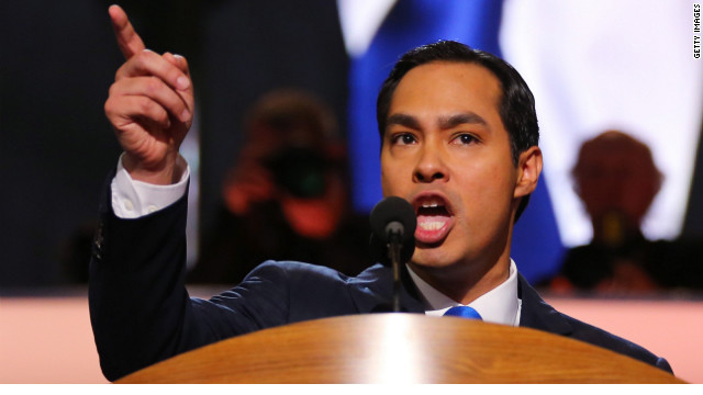 San Antonio Mayor Julian Castro gives the keynote address Tuesday night at the Democratic National Convention.
