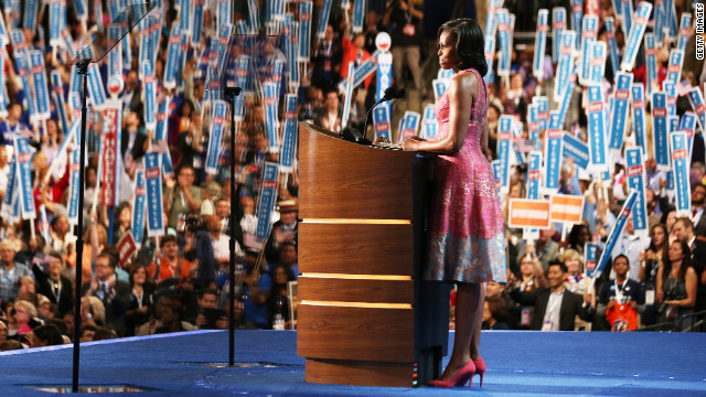 Michelle Obama convention speech dress dazzles, scores