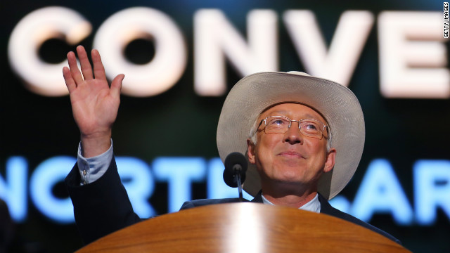 Secretary of the Interior Ken Salazar sports a cowboy hat while taking the stage Tuesday.