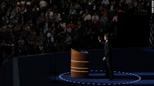 U.S. House candidate Joe Kennedy III of Massachusetts takes the stage Tuesday.