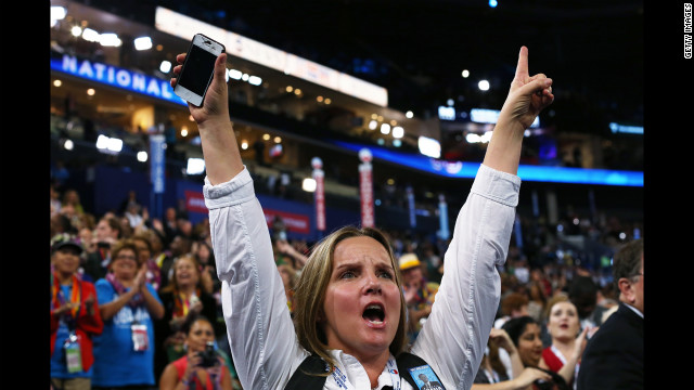 DNC delegates cheer during Tuesday's program.