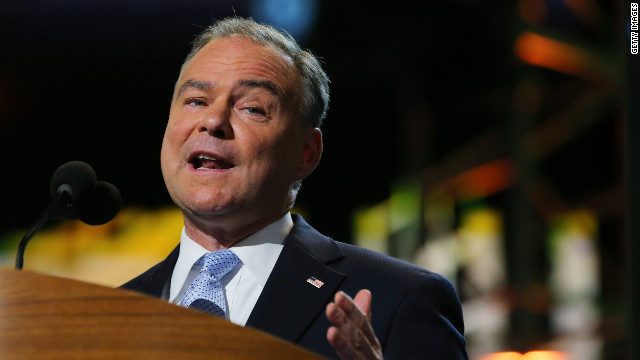 Former Virginia Gov. Tim Kaine speaks to the convention.